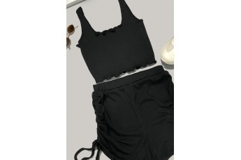 Set of 2-Lettuce Hem Tank Top with Drawstring Ruched Shorts Outfit