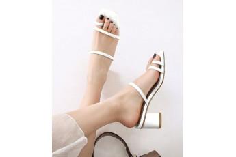 Christina slip on heels White