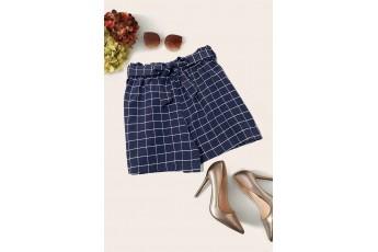 Navy Blue Check Summer Shorts