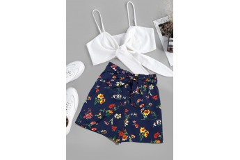 Floral Printed Summer Shorts Navy Blue