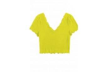 V Neck Rib Top yellow