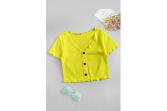 Yellow color rib top