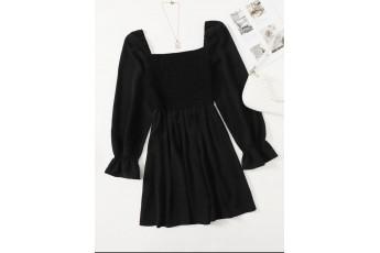 Women black flare dress