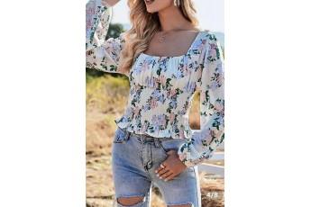 Full Sleeve Floral Printed Smoking Top