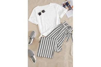 Grey and white trouser
