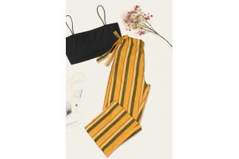 Mustard Striped Regular Trouser