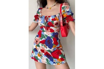 Colorful floral print dress