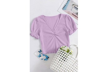 Lavender Puff Sleeve Rib Top