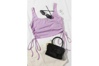 Lavender all day wear crop rib top
