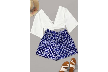 Blue indigo print shorts