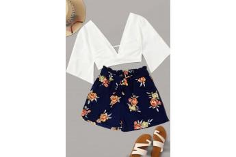 Blue base floral print shorts