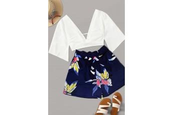 Blue floral summer print shorts