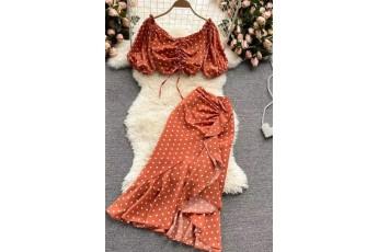 Set of 2- Orange polka dot skirt and top