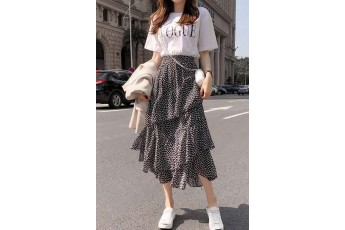 Set of 2- White t shirt with skirt