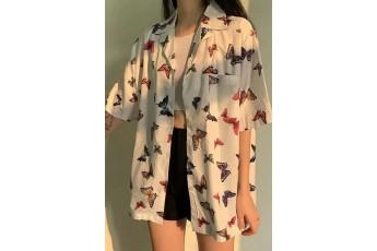 Digital print oversize shirt