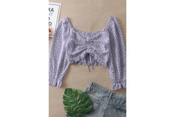 Front drawstring polka dot top Lavender