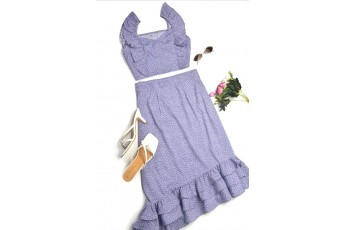Set of 2 - Lavender Polka Dot Crop top with Ruffle Skirt