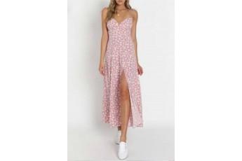 Crepe pink floral slit dress