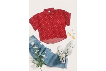 Polka Dot Crop Top Scarlet Red