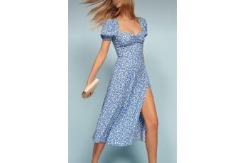Blue print slit open dress