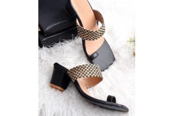 Jute Pattern Black Heel