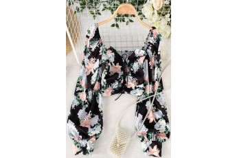 Black Retro Pleasant floral printed top