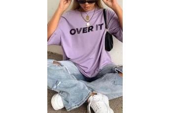 Over It Lavender Printed Tee