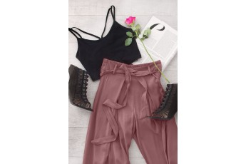 Set of 2 Strappy Top With Rosy Brown Trouser