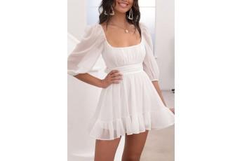 White ruffle georgette dress