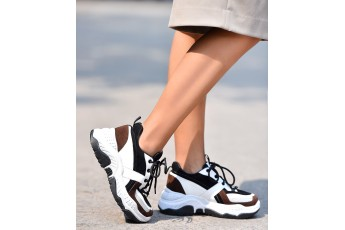 Brown patch chunky sneakers