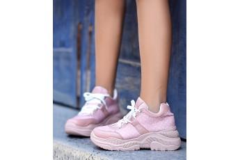 Pink polka chunky sneakers