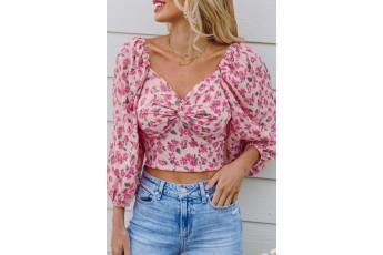 Pink floral print love top