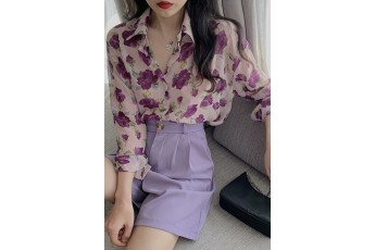 Purple floral print shirt