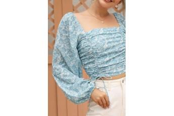 Sky-blue floral printed top