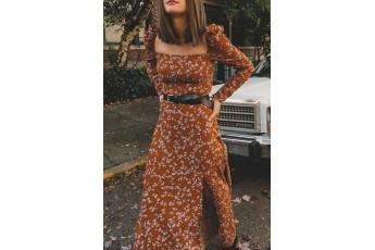 Long slit floral print full sleeve dress