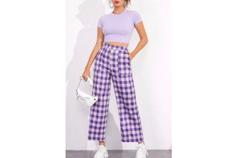 Set of 2 - Lavender rib top and check trouser