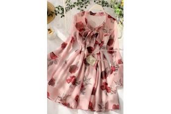 Women floral print cute dress