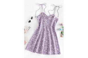 Ditsy Print Tied Shoulder Cami Slit Dress