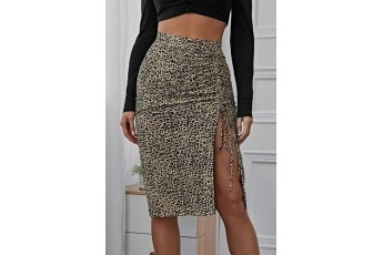 Drawstring Ruched Split Thigh Leopard Skirt