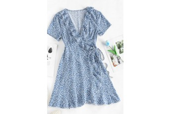 Ditsy Floral Ruffled Tie Wrap Dress