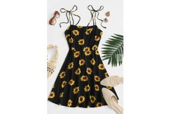 Flower Print Tie Shoulder Mini Dress