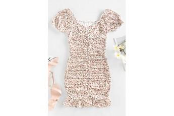 Ditsy Print Puff Sleeve Ruched Mini Mermaid Dress