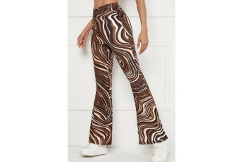 Marble Print Flare Leg Pants