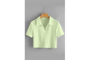 Collar Crop Tee - Lime