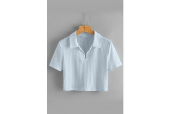 Collar Crop Tee - Illusion blue
