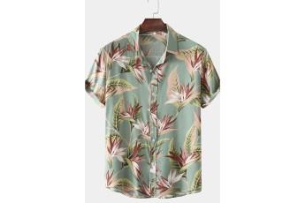 Men's Classical Oil Print Leaf Short Sleeve Shirt