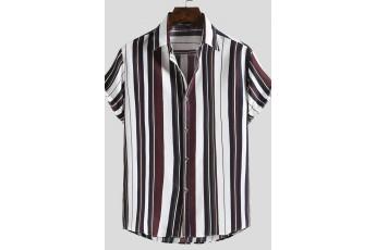 Men's Vertical Striped Curved Hem Shirt