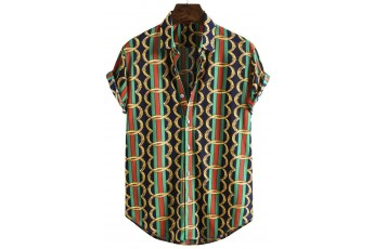 Men's Graphic Printed Striped Combination Shirt
