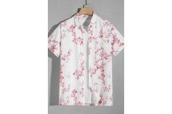 Men's White Floral Print Shirt