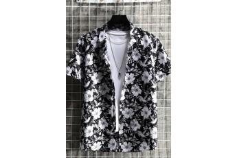 Men's Black Floral Button Up Shirt